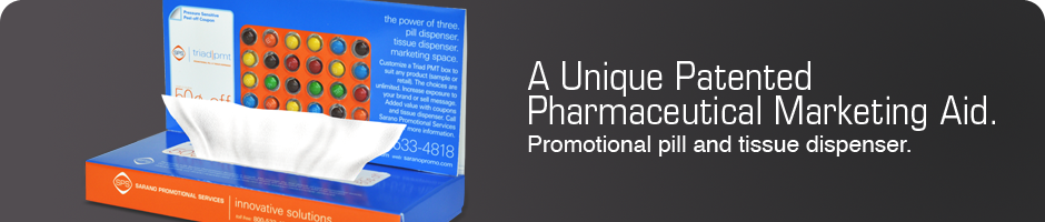 A Unique Pharmaceutical Marketing Aid. Promotional pill and tissue dispenser.